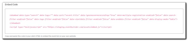 Screenshot: Listing Page embed code.
