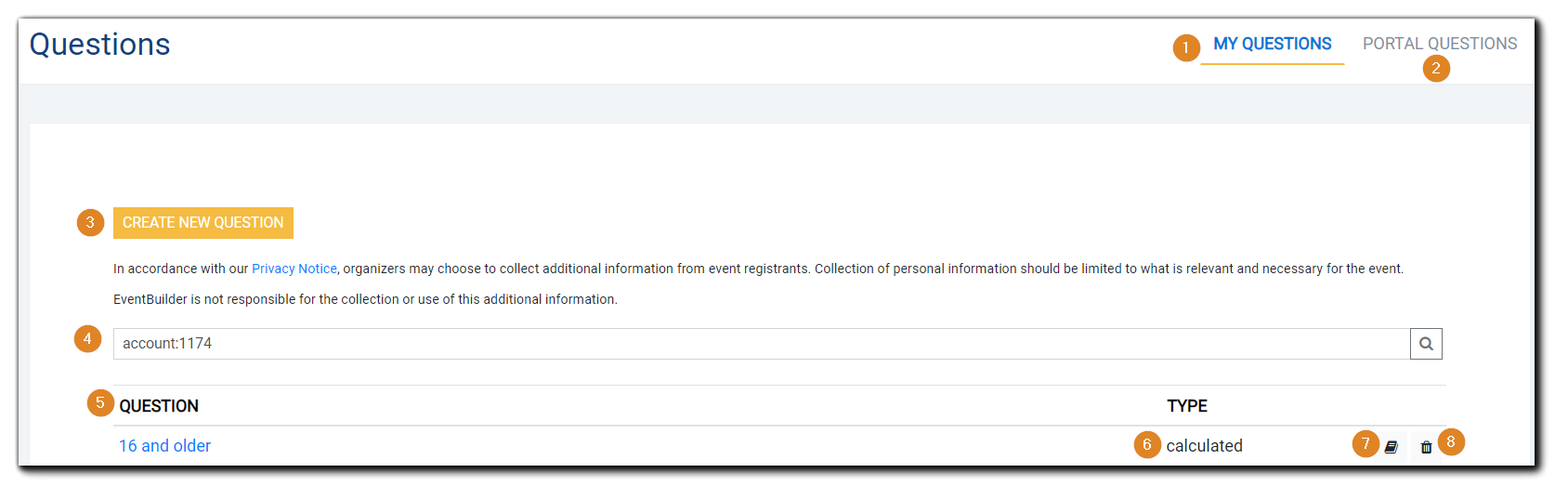 Screenshot: Main Questions page with numbered items.