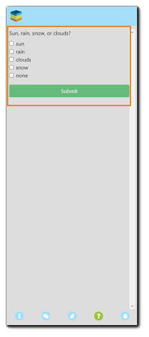Screenshot: Attendee Polling view, with an unanswered polling question.
