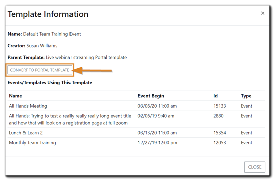Screenshot: Template Information dialog with the 'Convert to Portal Template' highlighted.