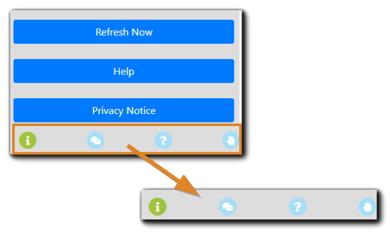 Screenshot: Attendee engagement tools - info, messages, files, polls, hand raise.