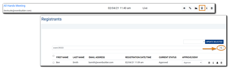 Screenshot: Registrant management icon and Registrant window with Advanced Search icon highlighted.