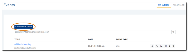 Screenshot: Events list with 'Create New Event' button highlighted.