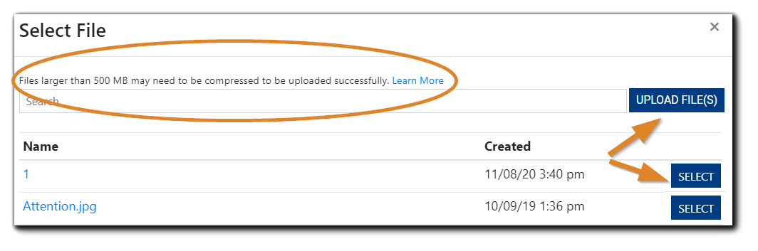 Screenshot: Select File window for adding an Event Banner. The Upload files and Select buttons are highlighted.