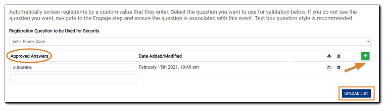 """Screenshot: Security Custom Questions dialog with 'Custom Security Questions Values, the green 'plus' sign, and the 'Upload List"""" options highlighted."""