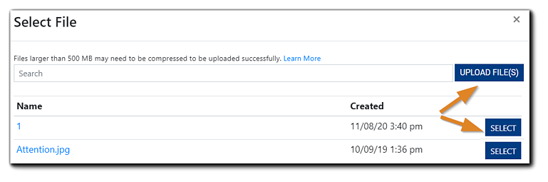 Screenshot: Select File window with the 'Upload File(s)' button circled and an arrows pointing to the 'Select' button and 'Upload File(s); button.