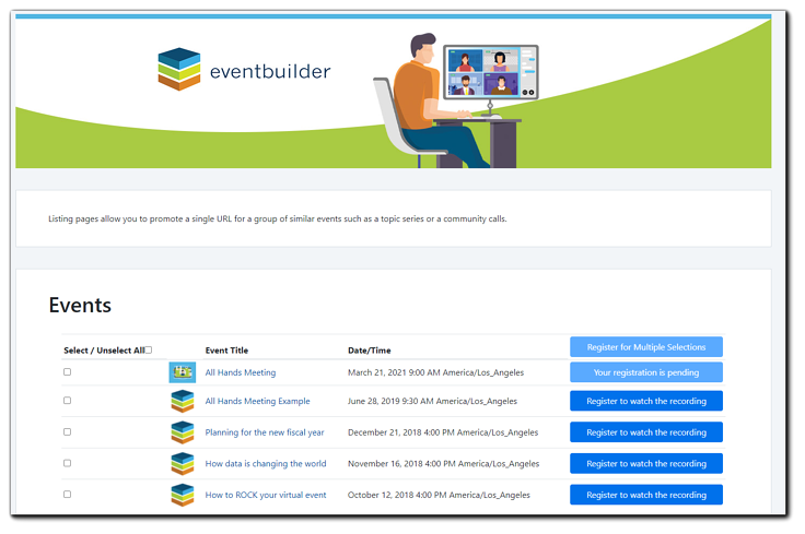 Screenshot: Example of a listing page.