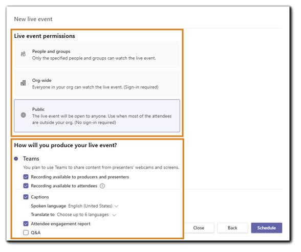 Screenshot: Teams Live Event permissions and event details.