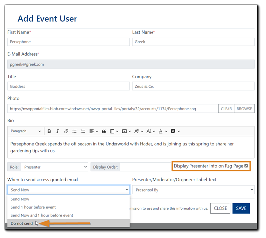 Screenshot: Add Event User dialog with 'Display Presenter info on Reg Page' check, and 'When to send access granted email' with the option 'Do not send' highlighted.