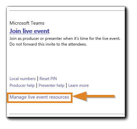Screenshot: Live Event resources option located on the Teams Live Event calendar item.