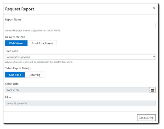 Screenshot: Request Report dialog box.