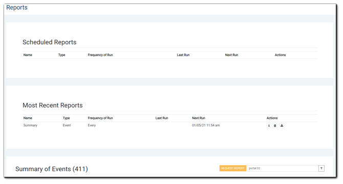 Screenshot: Main reports page.