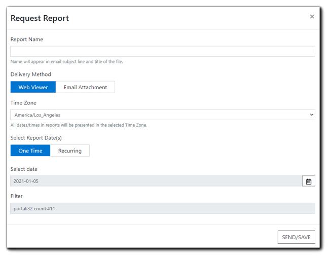 Screenshot: Request Report dialog.