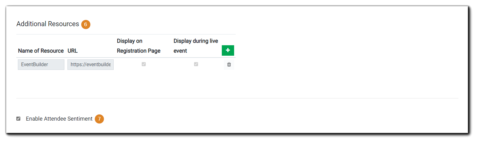 Screenshot: Engage Section options, Additional Resources and Attendee Sentiment.
