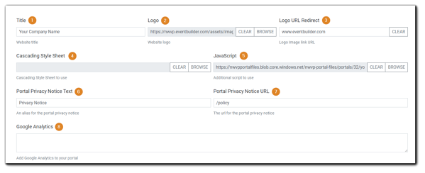Screenshot: Logo, Style, Privacy, and Analytics Section of Portal Configuration.