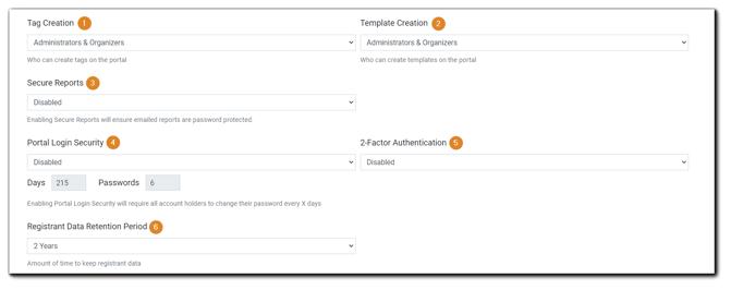 Screenshot: Privileges, Report Security, Portal Login Security, 2FA, Data Retention.
