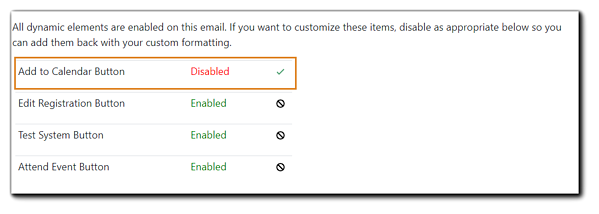 Screenshot: Dynamic buttons disable dialog from the Communicate Step.
