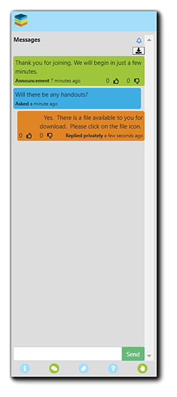 Screenshot: Messages panel, with Announcements, Attendee question, and Presenter response displayed.