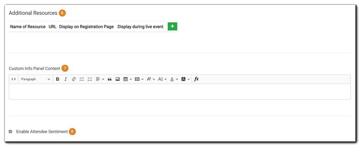 Screenshot: Engage Section options, Additional Resources, Custom Info Panel Content, and Attendee Sentiment.