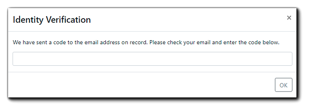 """Screenshot: Edit/Cancel registration Identity Verification. Transcript: """"We have sent a code to the email address on record. Please check your email and enter the code below."""""""