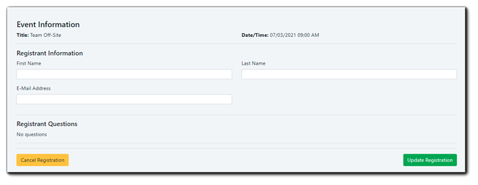 Screenshot: Registrant update window, where Registrants can see and update information, or cancel.