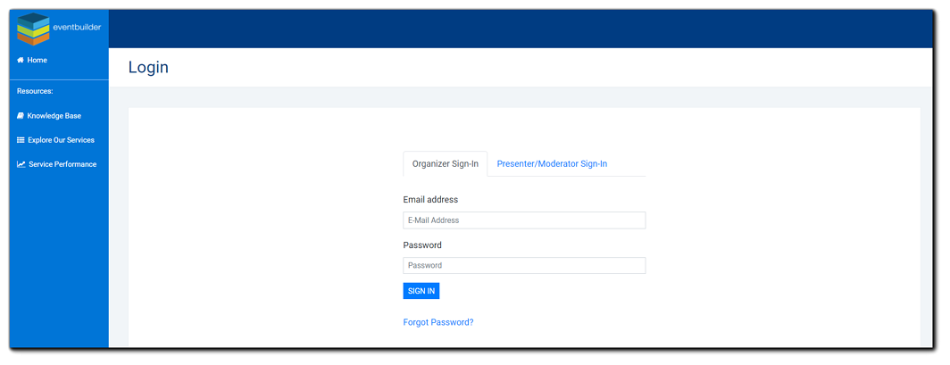 Screenshot: EventBuilder main login screen - email address and password fields, blue sign in button, and forgot password link showing.