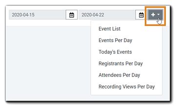 Screenshot: Available widget drop-down menu options: Event List, Events Per Day, Today's Events, Registrants Per Day, Attendees Per Day, Recording Views Per Day.