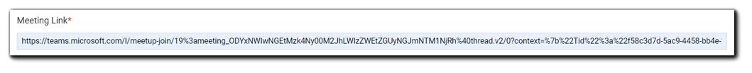 Screenshot: Meeting link field on the Schedule step