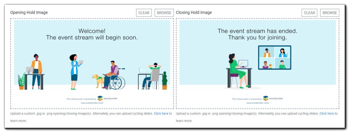 Screenshot: Opening Hold Image and Closing Hold Image dialog.