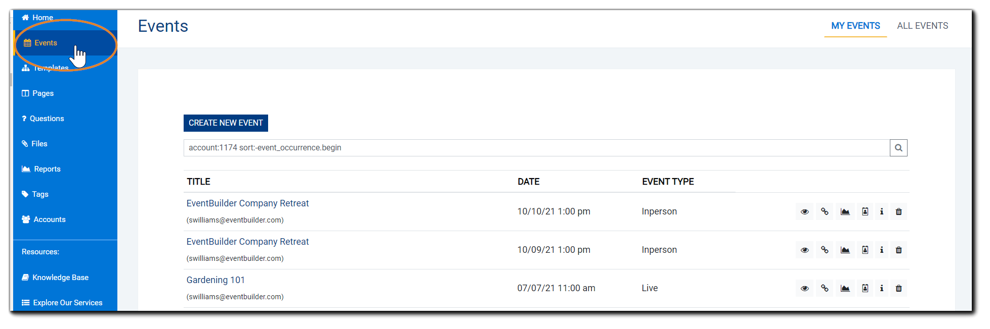 Screenshot: Events view with the left navigation Events option highlighted.