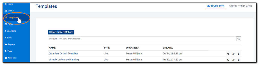 Screenshot: Templates view, with left navigation Template option highlighted.