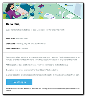 Screenshot: Example of a Moderator invitation email.