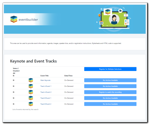 Screenshot: Sample Listing Page.