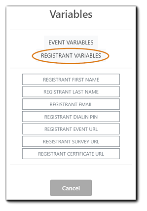 Screenshot: Registrant Variables available to add to calendar ics file: Registrant first name, last name, email, dial-in PIN, registrant event URL, survey URL, certificate URL.
