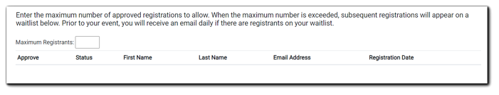 Screenshot: Waitlist dialog. Transcript: Enter the maximum number of approved registrations to allow. When the maximum number is exceeded, subsequent registrations will appear on a waitlist below. Prior to your event, you will receive an email daily if there are registrants on your waitlist.