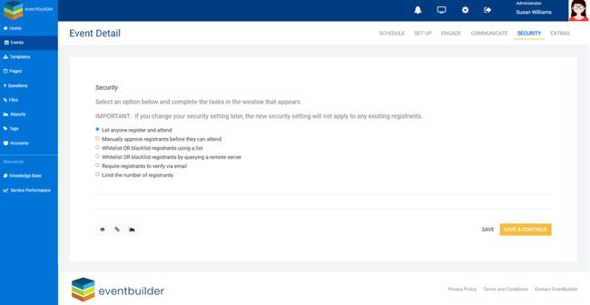 Screenshot: Security step options dialog.