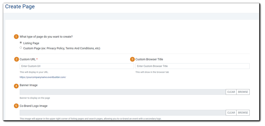 Screenshot: Create Page dialog: Type, Custom URL, Custom Browser Title, Banner Image, Co-Brand Logo Image.
