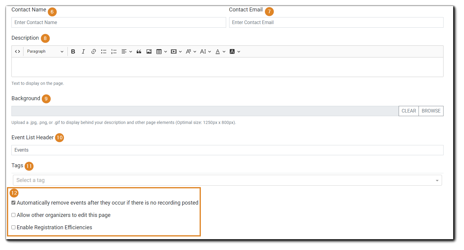 Screenshot: Create Page dialog continued: Contact Name, Contact Email, Description, Background, Event List Header, Tags, Page options - auto Auto remove past events, Allow other users to edit, Enable Registration Efficiencies.