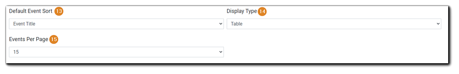 Screenshot: Page options continued: Default Event Sort, Display Type, Events Per Page.