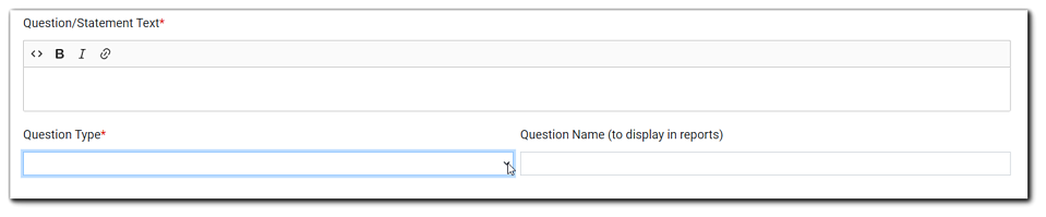 Screenshot: Create question dialog. Question/Statement Text, Question Type, Question Name (to display on reports).
