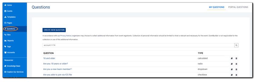 Screenshot: Questions main dialog.