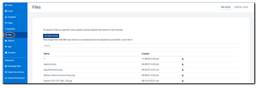 Screenshot: Main Files dialog.