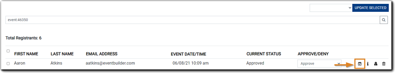 Screenshot: Event Registrant list, with the 'Mark Attended' icon highlighted.