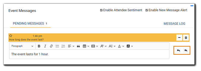Screenshot: Open text editor below question for Moderator response. The single arrow and double arrow icons are highlighted.