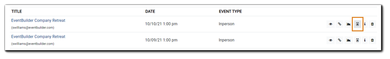 Screenshot: Event list, with Registrant icon highlighted.