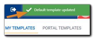 Screenshot: Green 'Default template updated' confirmation message.