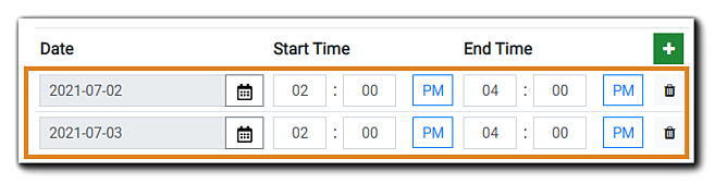 Screenshot: Date, Start Time, End Time fields for choosing in-person event times. Green plus sign and trash icon are also displayed.