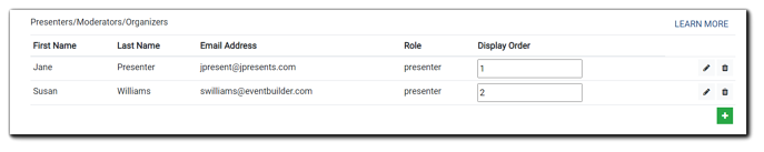 Screenshot: Presenter/Moderator/Organizer area: fields for First Name, Last Name, Email Address, Role, Display Order, pencil icon (edit) and trash icon.