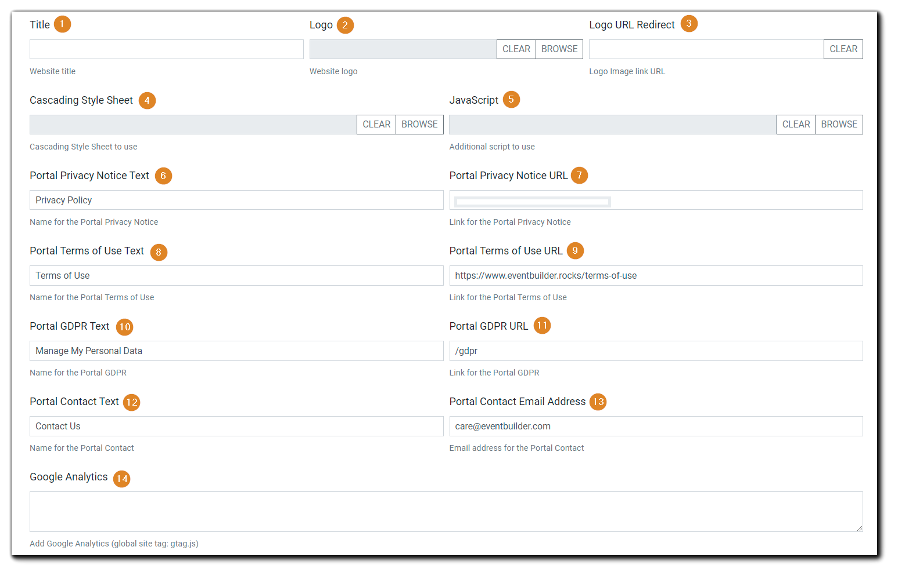 Screenshot: Branding section in Portal Configuration.