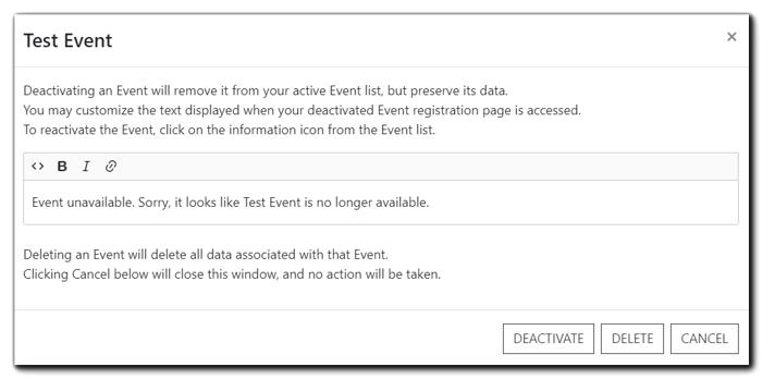 Screenshot: Deactivate/Delete confirmation window.